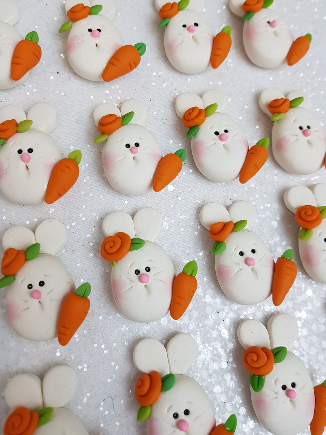 Clay Charm Embellishment - NEW BUNNY AND CARROT B - Crafty Mood