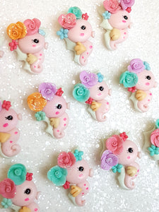Clay Charm Embellishment - NEW SEAHORSE PINK Sea - Crafty Mood