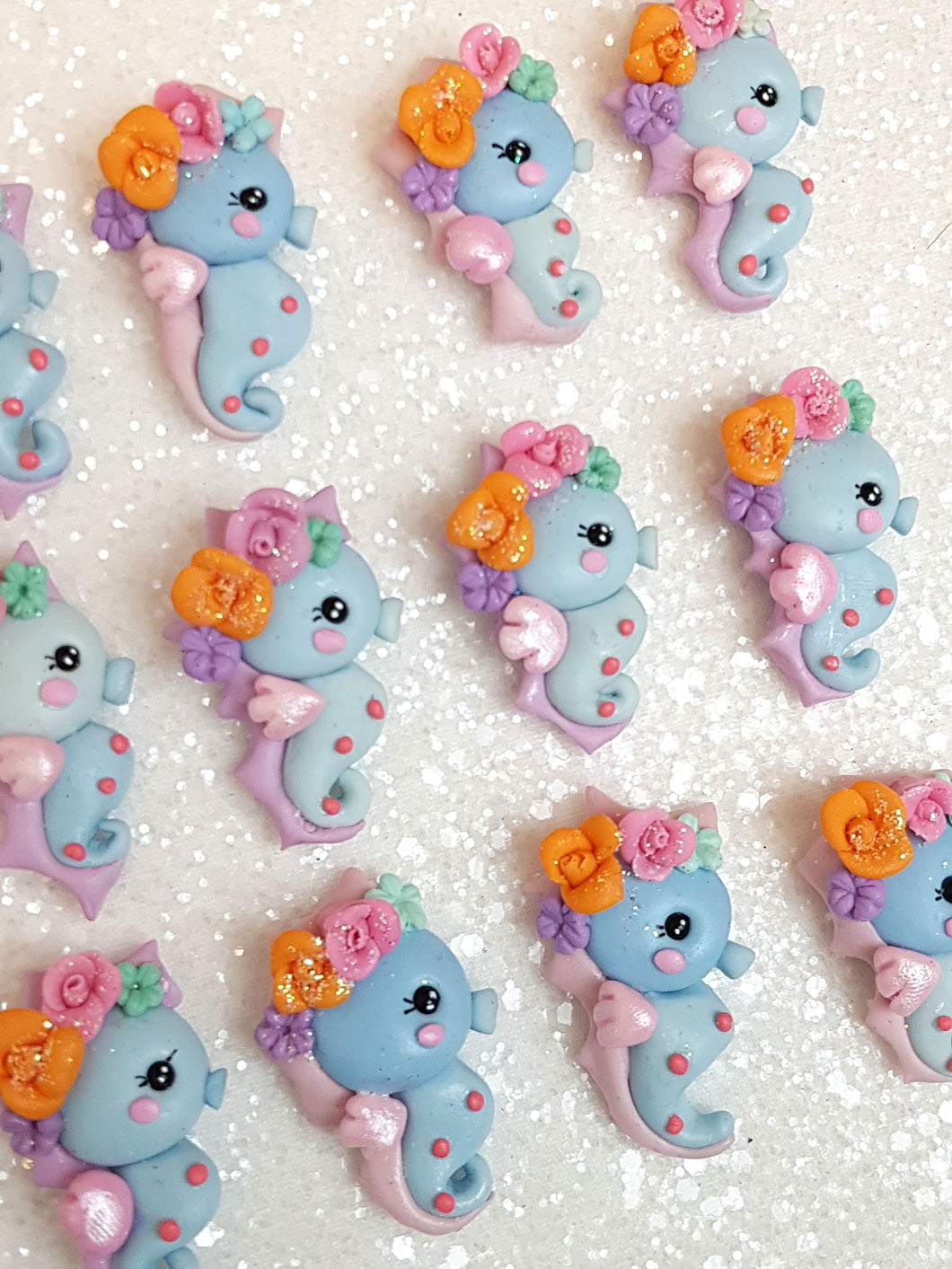 Clay Charm Embellishment NEW SEAHORSE BLUE sea SH - Crafty Mood