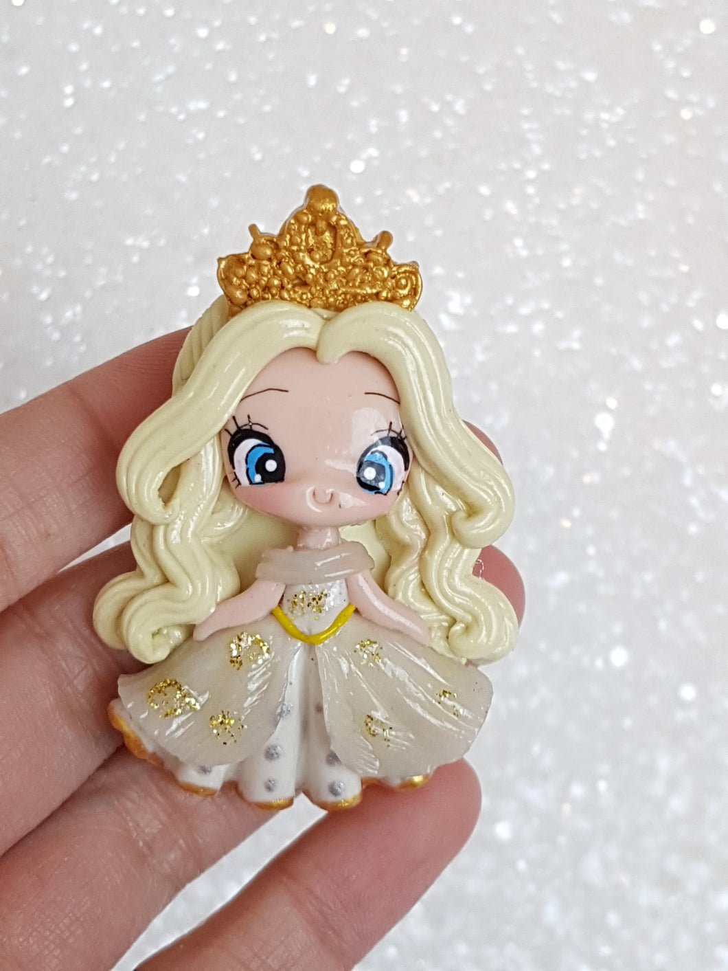Clay Charm Embellishment - NEW LUXE PRINCESS IN WHITE - Crafty Mood