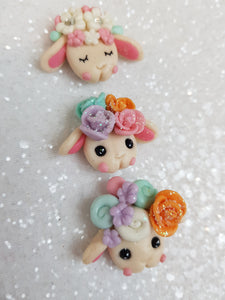 Clay Charm Embellishment - NEW CUTE SHEEP HEAD - Crafty Mood