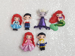 Clay Embellishment NEW PRINCESS AND FRIENDS B SET OF 6 - Crafty Mood
