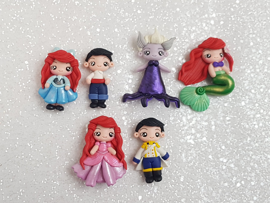 Clay Charm Embellishment NEW PRINCESS AND FRIENDS B SET OF 6 - Crafty Mood