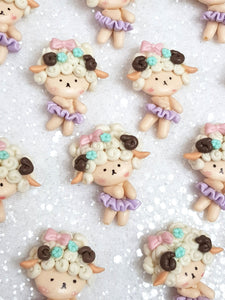 Clay Charm Embellishment - NEW DANCING SHEEP - Crafty Mood