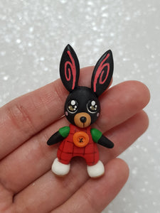 Clay Charm Embellishment - NEW BUNNY - BLACK - Crafty Mood