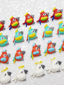 Handmade Flat Back Clay Embellishment NEW PARROT - Crafty Mood