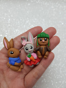 Clay Charm Embellishment - NEW MINI RABBITnFRIENDS FULLBODY - Crafty Mood