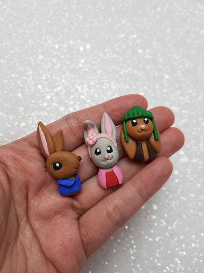 Clay Charm Embellishment - MINI RABBIT AND FRIENDS SET OF 3 - Crafty Mood
