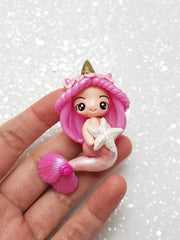 Clay Charm Embellishment - SHIMMER UNIMERMAID - Crafty Mood