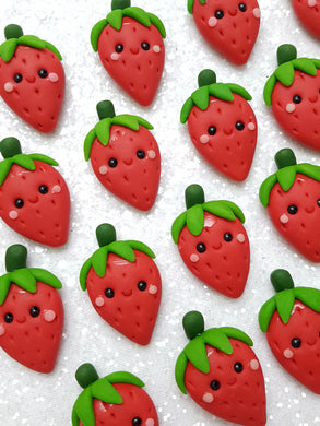 Handmade Flat Back Clay Embellishment NEW STRAWBERRY RED - Crafty Mood