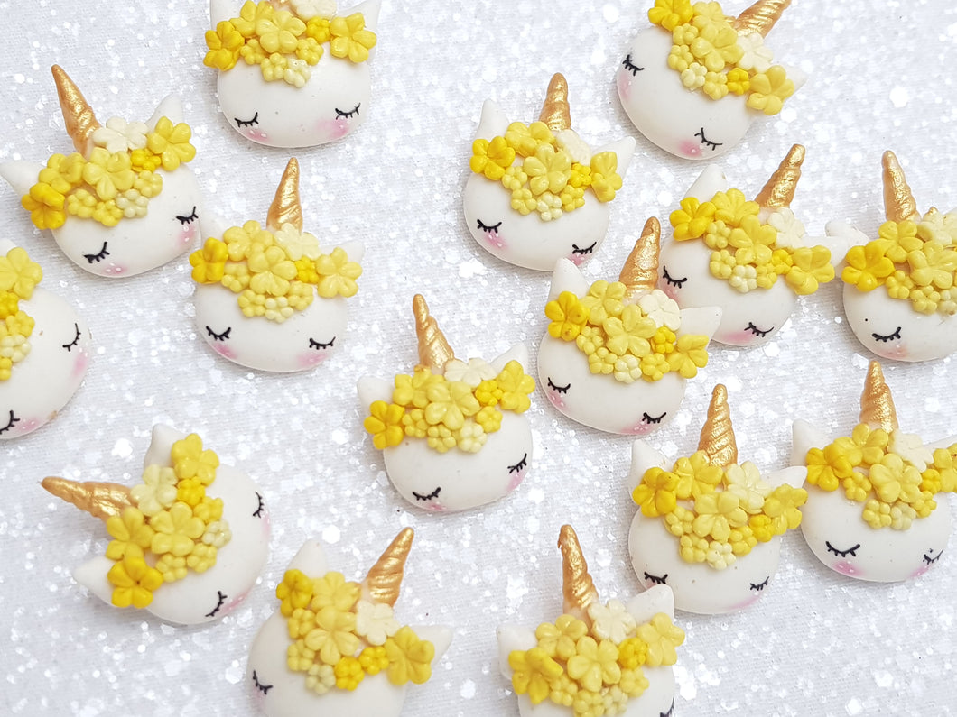 Clay Charm Embellishment - NEW SLEEPY UNICORN - YELLOW - Crafty Mood