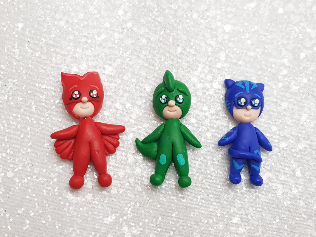 Clay Charm Embellishment - NEW SUPER HERO SET  OF 3 - Crafty Mood