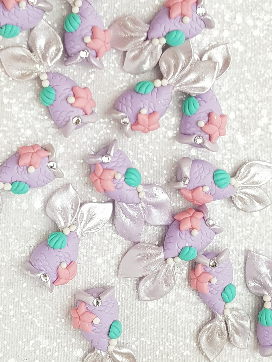 Clay Charm Embellishment - NEW MERMAID TAIL - PURPLE - Crafty Mood