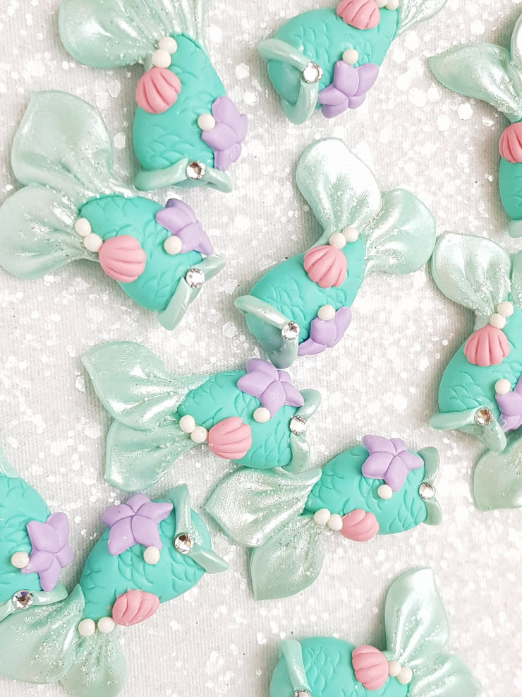 Clay Charm Embellishment - NEW MERMAID TAIL - MINT - Crafty Mood