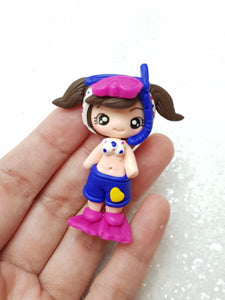 Sale - Clay Charm Embellishment - NEW DIVING GIRL - Crafty Mood