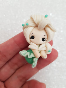 Handmade Flat Back Clay Embellishment White hair goddess - 4 cm tall princess - Crafty Mood
