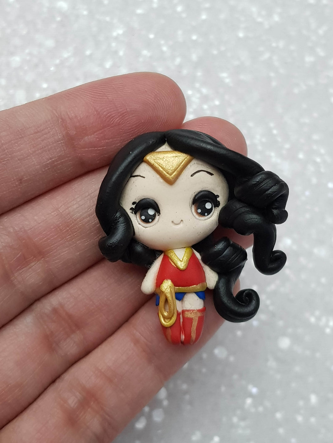 Clay Charm Embellishment - Wonder Girl BIG EYES - Crafty Mood