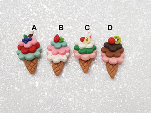 Handmade Flat Back Clay Embellishment Ice cream - Crafty Mood