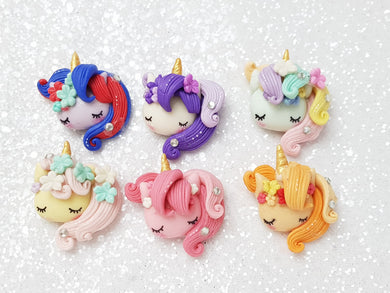 Handmade Flat Back Clay Embellishment SLEEPY UNICORN PONY - Crafty Mood