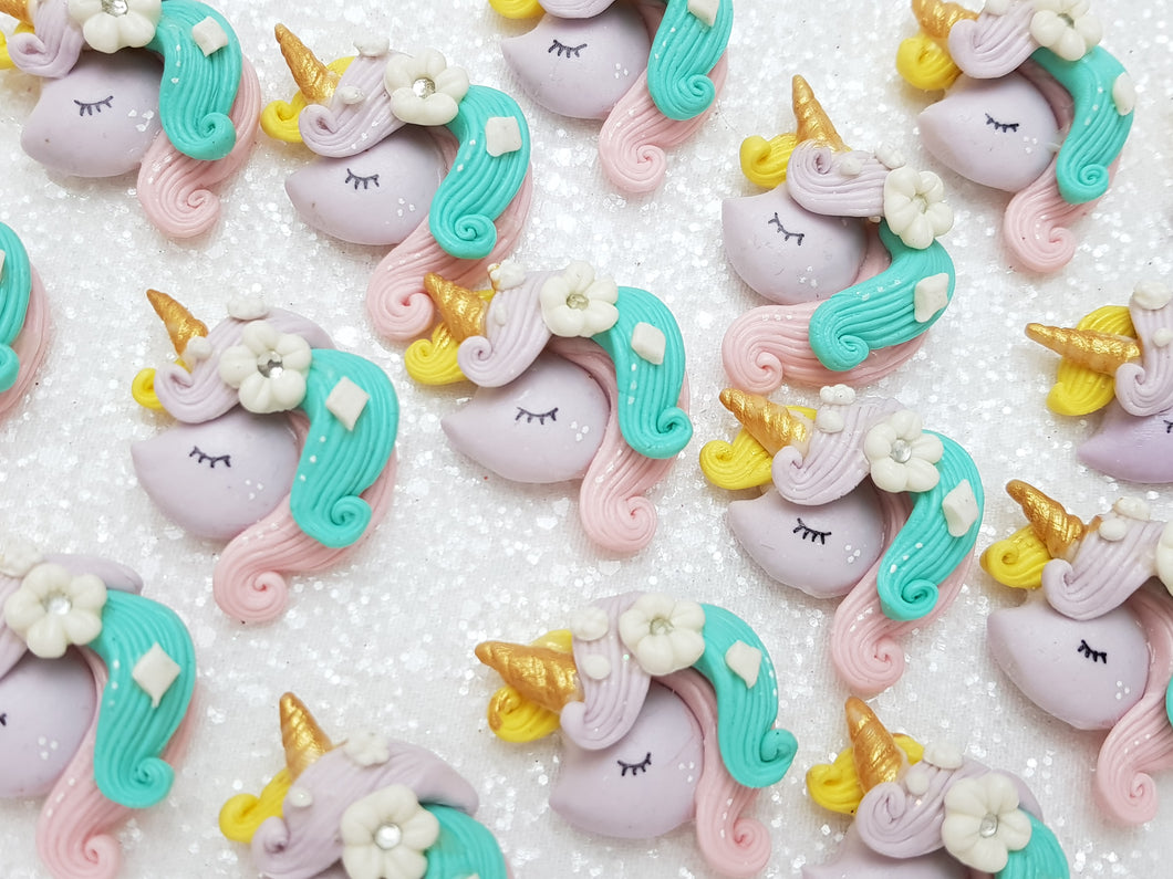 Handmade Flat Back Clay Embellishment New Unicorn Head Mint Lilac - Crafty Mood