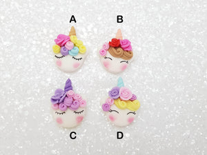 Clay Charm Embellishment NEW MINI UNICORN HEAD - Crafty Mood