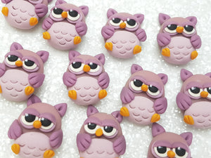 Clay Charm Embellishment - NEW OWL -PURPLE - Crafty Mood