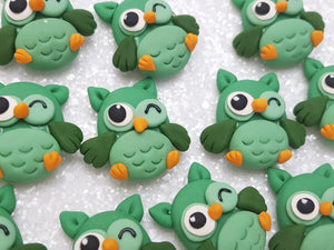 Clay Charm Embellishment - NEW OWL -GREEN - Crafty Mood