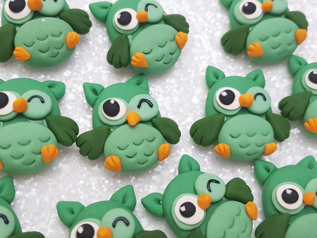 Handmade Flat Back Clay Embellishment NEW OWL -GREEN - Crafty Mood