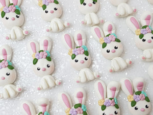 Flat Back Clay Embellishment NEW white bunny - Crafty Mood
