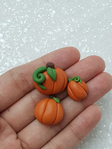 Set of 3 Clay Charm Embellishment - NEW Pumpkins - Crafty Mood