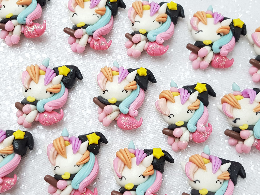 Clay Charm Embellishment - NEW Witch Unicorn Halloween - Crafty Mood