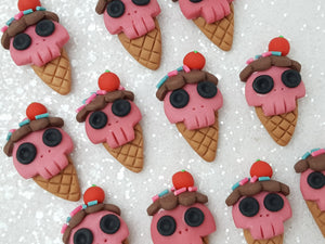 Clay Charm - NEW Skull Ice Cream Halloween - Crafty Mood