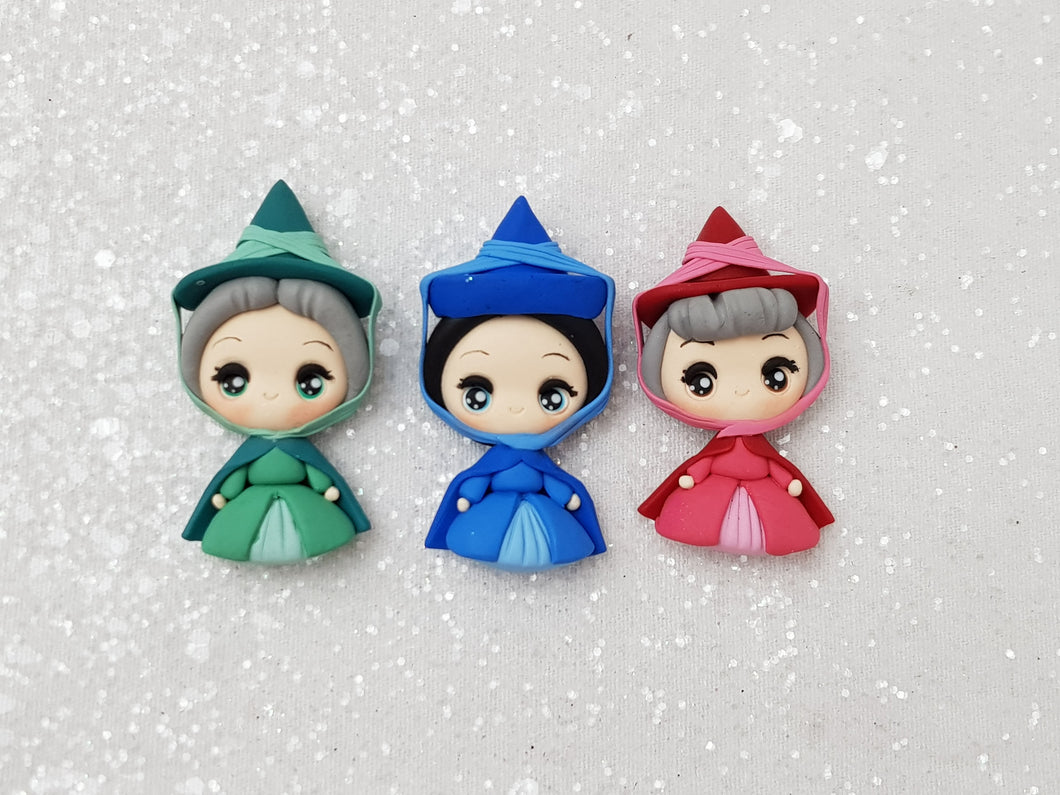 Clay Charm Embellishment - New Fairy Godmother set of 3 - Crafty Mood