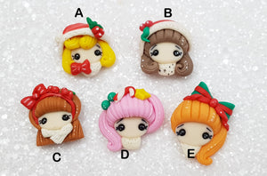 Clay Charm Embellishment CHRISTMAS HEAD SH - Crafty Mood
