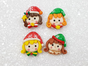 Clay Charm Embellishment - Christmas Elf Head 2 cm - Crafty Mood