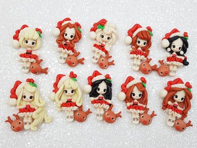 Flat Back Clay Embellishment NEW set of 10 christmas princess