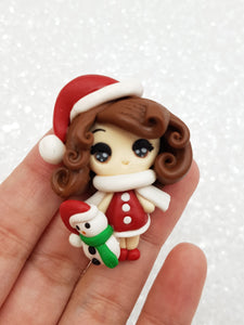 Clay Charm Embellishment - Christmas Girl Big Eyes - Crafty Mood