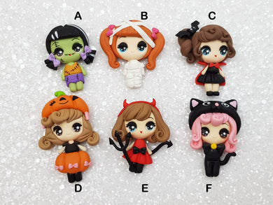 Clay Embellishment New Halloween Dressing up girl big eyes - Crafty Mood