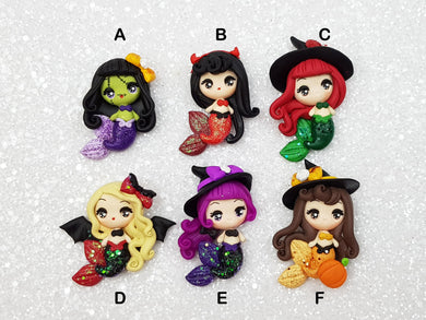 Flat Back Clay Embellishment New Halloween mermaid witch big eyes