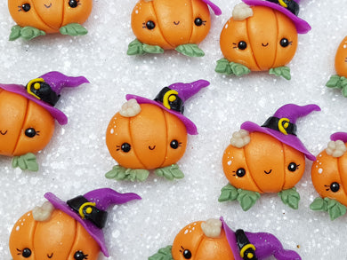 Flat Back Clay Embellishment NEW pumpkin witch halloween