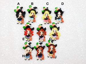 Flat Back Clay Embellishment NEW halloween princess witch B