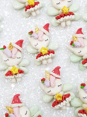 Handmade Flat Back Clay Embellishment New unicorn fairy christmas
