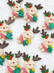 Clay Charm Embellishment - New Deer Christmas - Crafty Mood