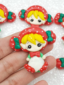 Flat Back Clay Embellishment New Christmas candy girl