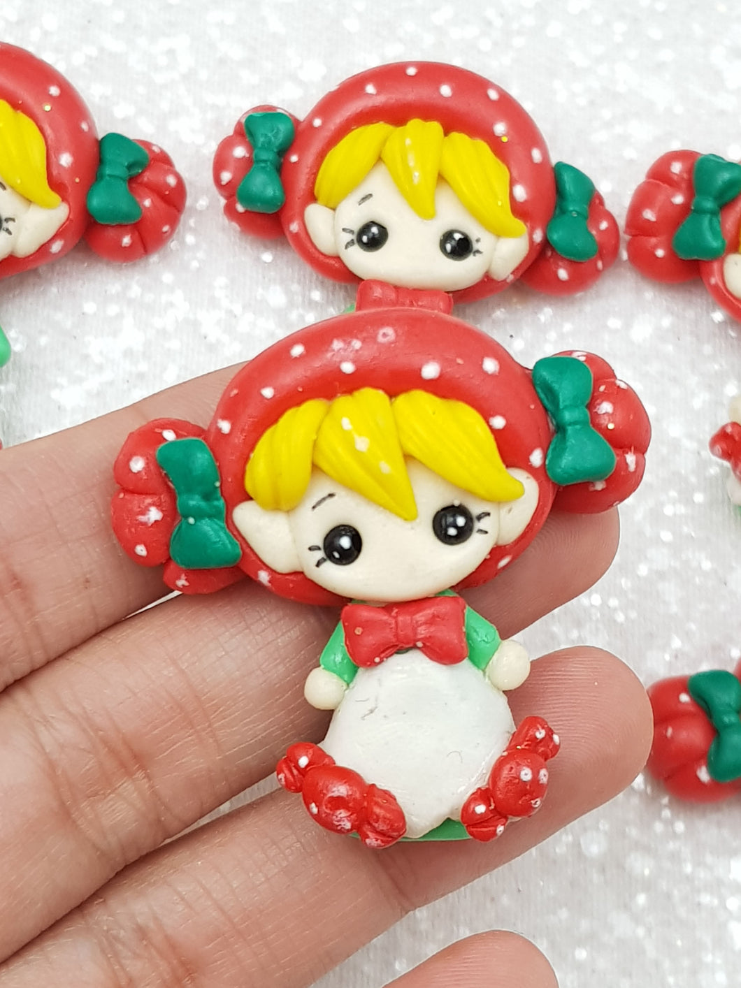 clay Charm Embellishment - New Christmas Candy Girl - Crafty Mood