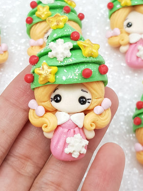 Flat Back Clay Embellishment New Christmas tree girl