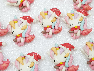 Handmade Flat Back Clay Embellishment New Santa unicorn Christmas