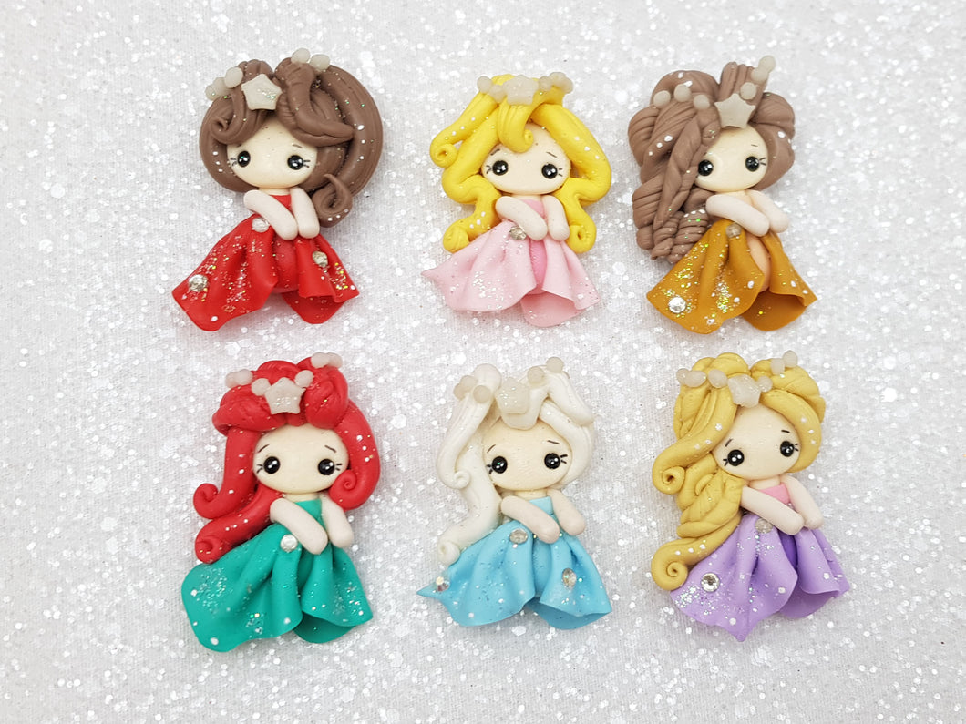 Handmade Flat Back Clay Embellishment PRINCESS GLAM - GLOW IN THE DARK DECORATION