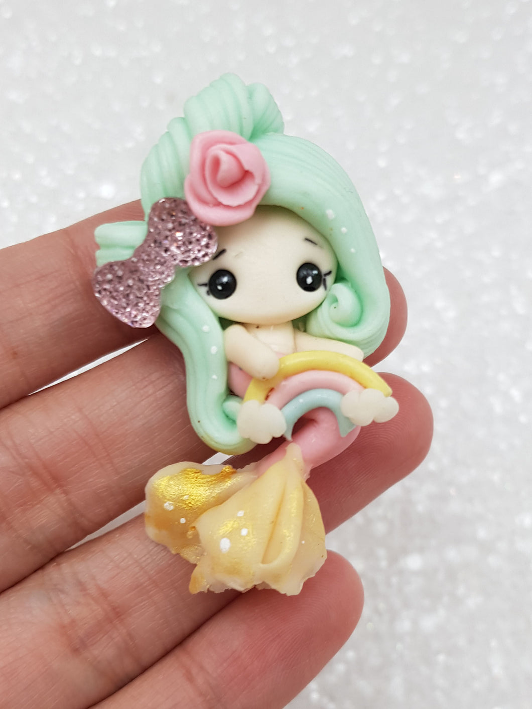 Clay Charm Embellishment - NEW RAINBOW MERMAID B - Crafty Mood