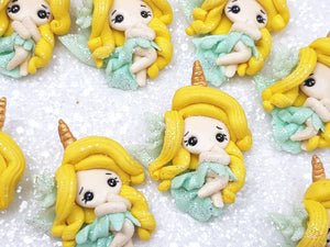 Handmade Flat Back Clay Embellishment NEW unicorn fairy ice